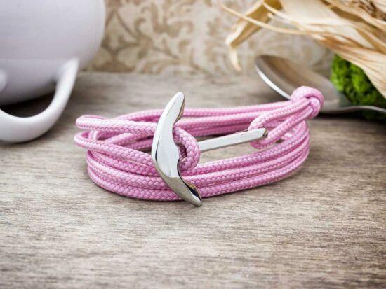 Üde rózsaszín horizont acél horgony paracord karkötő