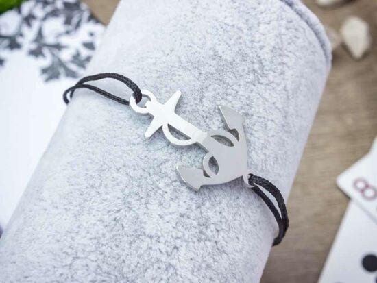 Gravírozható acél horgony medálos MiniM nanocord karkötő