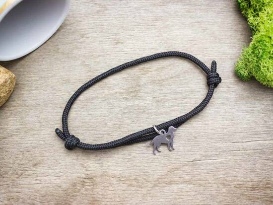 Kutyabarát medálos fekete paracord karkötő