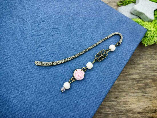 Rózsaszín rózsás könyvjelző