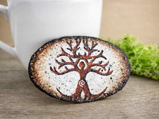 Fehér Kelta életfa festett bőr-parafa kitűző