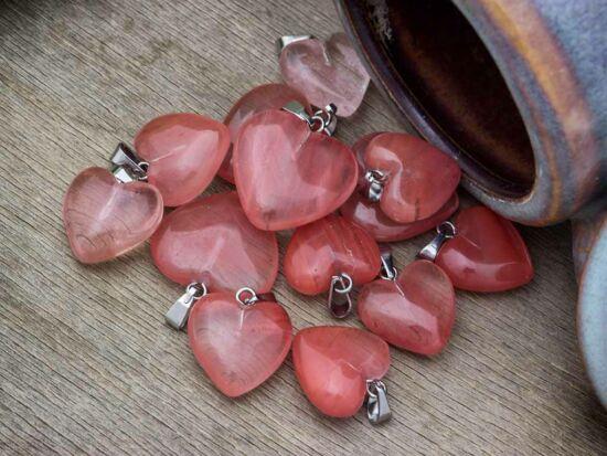 Cseresznye kvarc szív ásvány medál