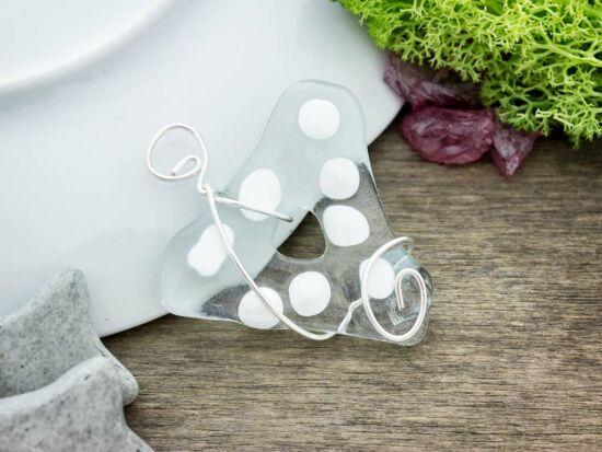 Fehér tisztaság háromszög üveg medál