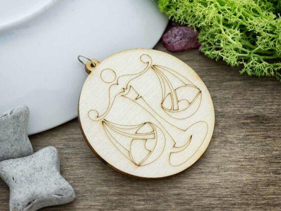 Mérleg horoszkóp lézervágott lógós nyírfa medál