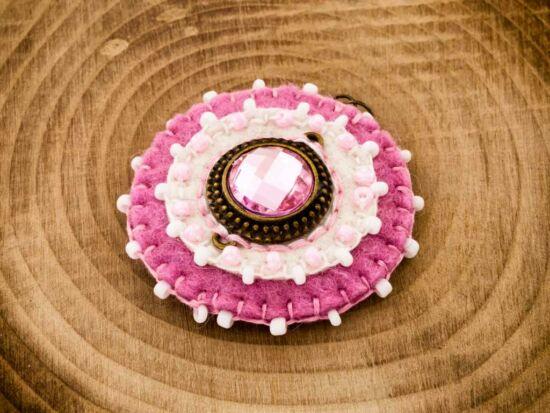 Gyapjúfilc rózsaszín csillogás medál