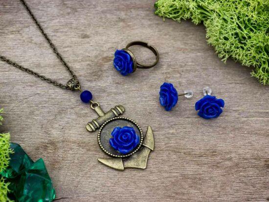 Kék színű rózsás fülbevaló gyűrű és nyaklánc szett