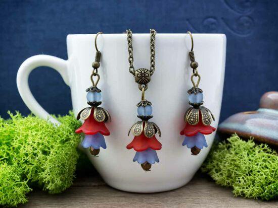 Kék és piros harangvirágos szett