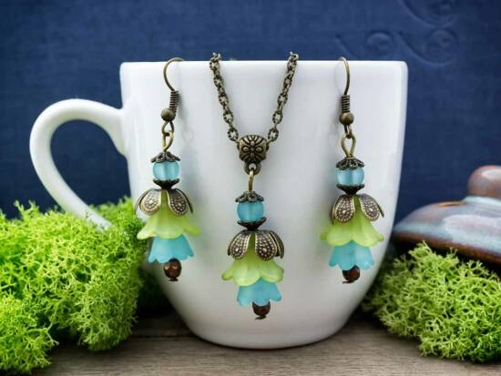 Kék és zöld harangvirágos szett
