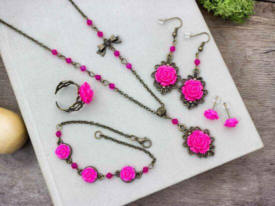 Rózsaszín rózsás gyűrű karkötő fülbevalók és nyaklánc szett
