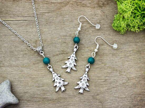 Karácsonyi fenyőfa zöld gyöngyös nyaklánc és fülbevaló szett
