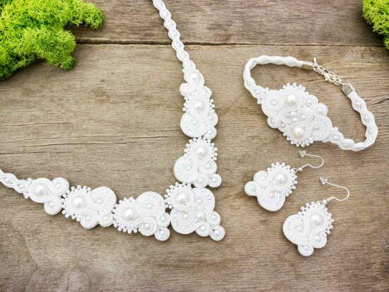Esküvői sujtás karkötő nyaklánc és fülbevaló szett