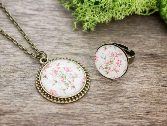 Üveglencsés vintage rózsa gyűrű és nyaklánc szett