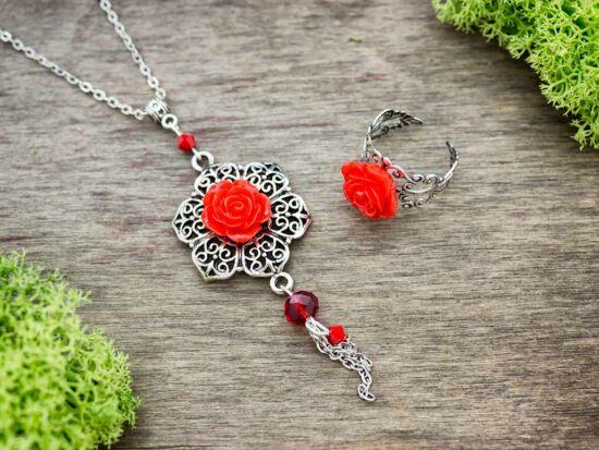 Piros rózsás gyűrű és nyaklánc szett