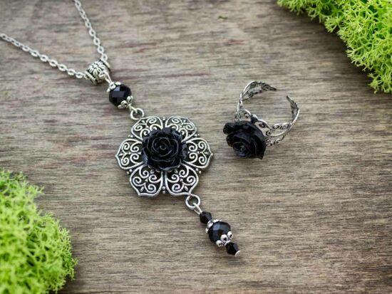 Fekete rózsás gyűrű és nyaklánc szett