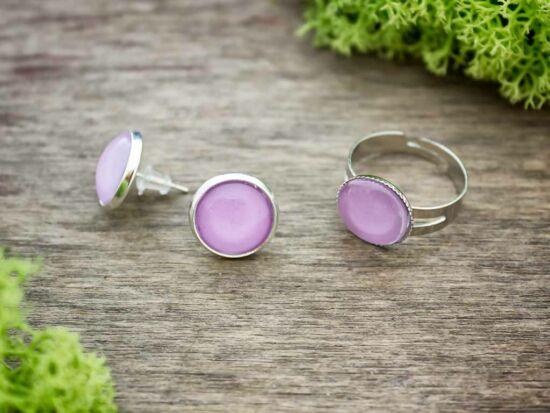 Üveglencsés lila gyűrű és fülbevaló szett