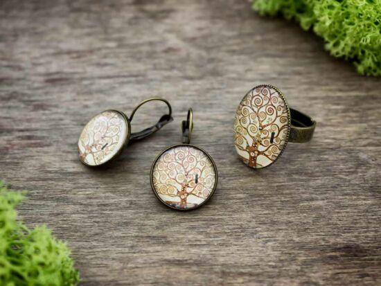 Üveglencsés életfa gyűrű és fülbevaló szett