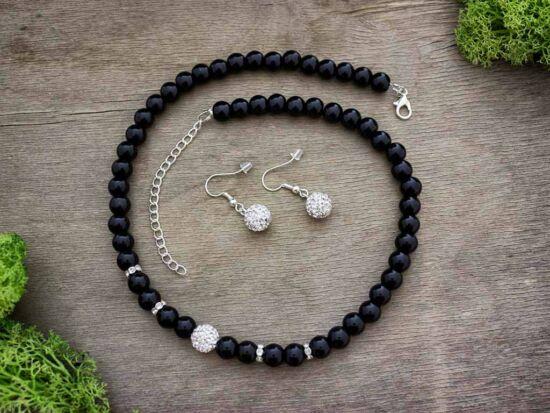 Fekete ezüst kristályos gyöngyös nyaklánc és fülbevaló szett