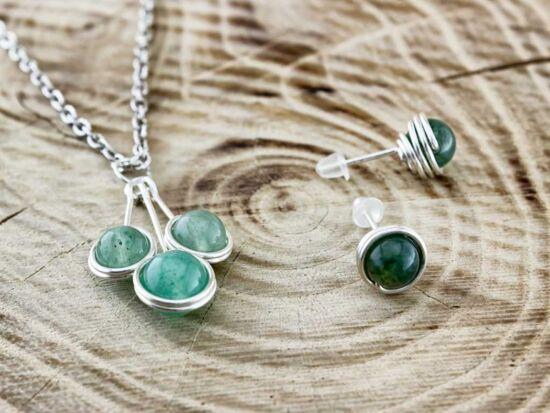 Zöld aventurin ezüst színű drót szett