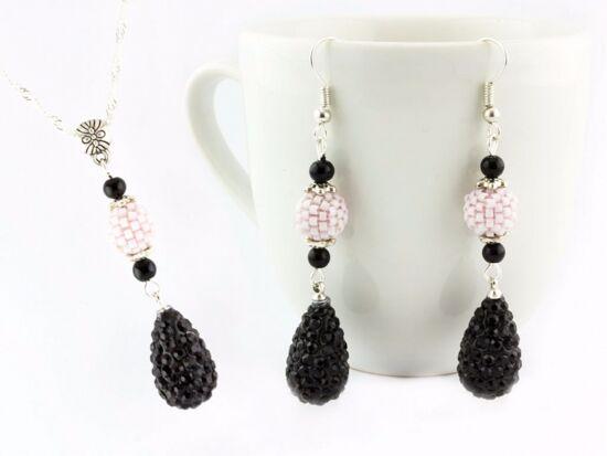 Fekete és rózsaszín csepp nyaklánc és fülbevaló szett