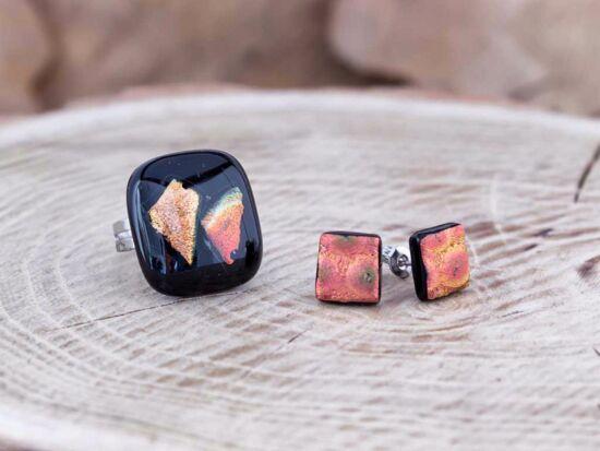 Fekete csillogás gyűrű és fülbevaló üveg szett