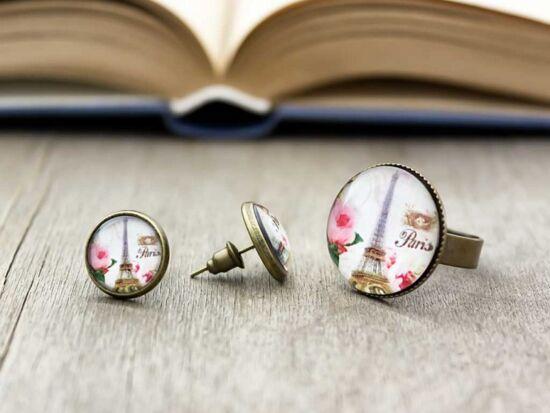 Üveglencsés Paris and rose gyűrű és fülbevaló szett