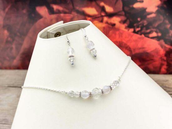 Menyasszonyi kristályos nyaklánc és fülbevaló szett