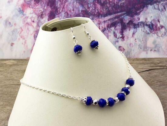 Kék kristályos nyaklánc és fülbevaló szett