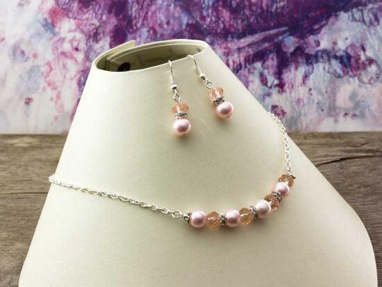 Rózsaszín kristályos nyaklánc és fülbevaló szett