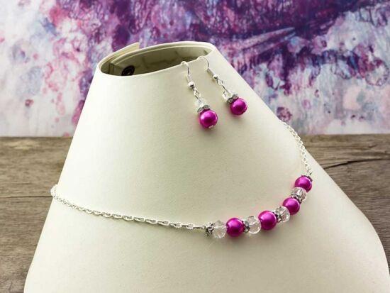 Fehér kristályos rózsaszín nyaklánc és fülbevaló szett