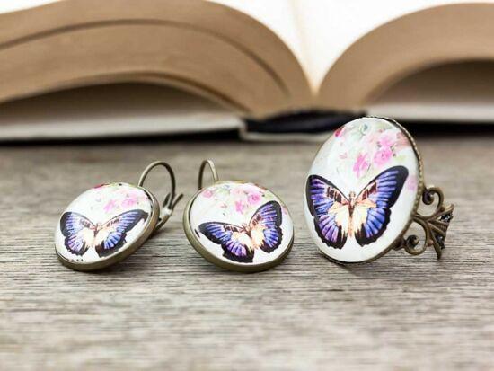 Üveglencsés pillangós gyűrű és fülbevaló szett