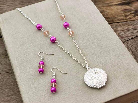 Rózsaszín fülbevaló és fényképtartós nyitható nyaklánc szett
