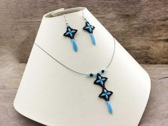 Kék fekete csillag kristály nyaklánc és fülbevaló szett
