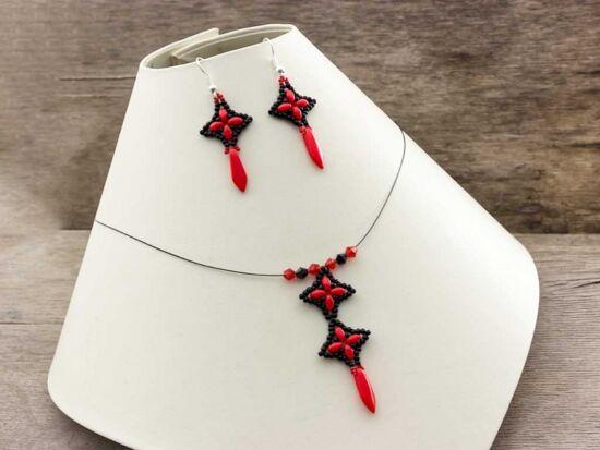 Piros fekete csillag kristály nyaklánc és fülbevaló szett