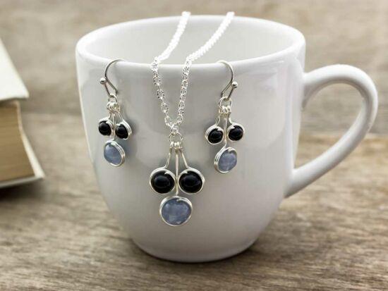 Kék achát és ónix ezüst színű drót szett