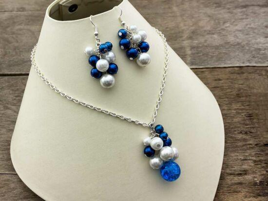 Kék bubble tekla gyöngyös nyaklánc és fülbevaló szett