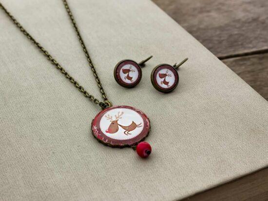 Üveglencsés karácsonyi rénszarvasos nyaklánc és fülbevaló szett