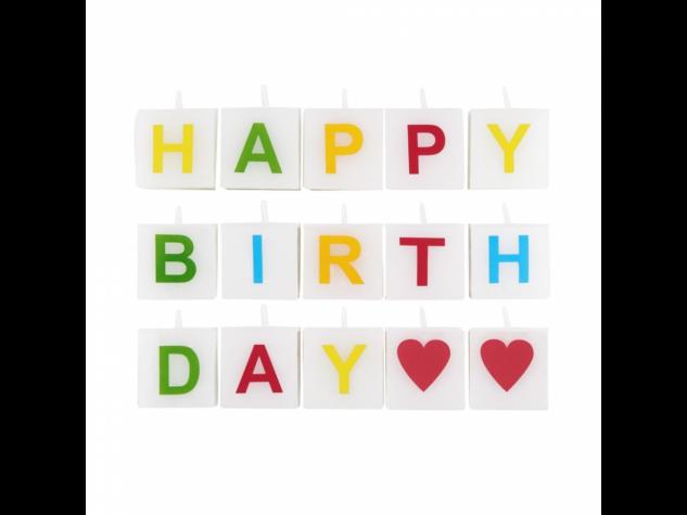 LOVE LETTERS gyertya Happy Birthday 15db