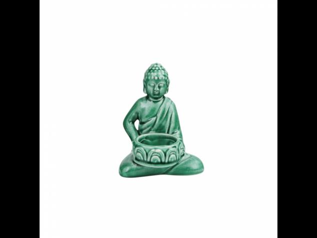BUDDHA cement mécsestartó 12,5cm zöld