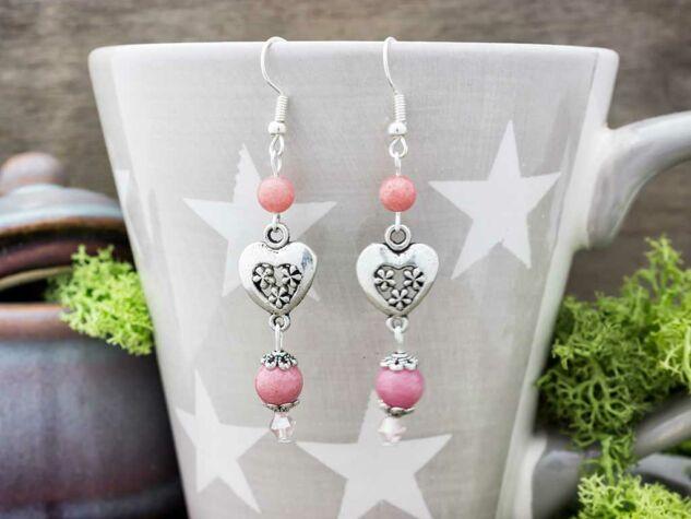 Rózsaszín szív lógós fülbevaló