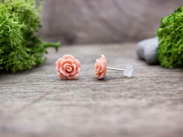 Barack színű rózsa fülbevaló