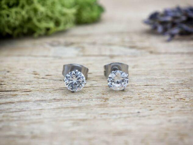 Cirkónia kristályos acél fülbevaló