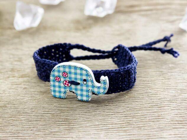 Kék elefántos gombos horgolt gyermek karkötő