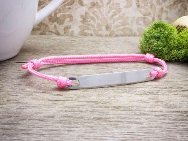 Gravírozható lapbetétes rózsaszín microcord karkötő