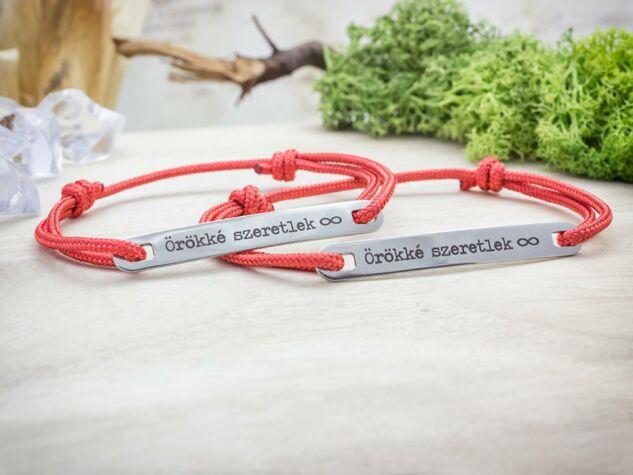 Örökké szeretlek vörös microcord páros karkötők