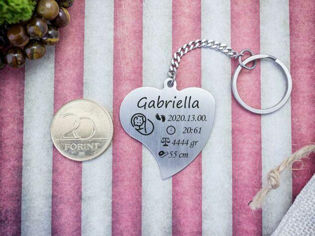 Baba emlékőrző acél szív medálos kulcstartó