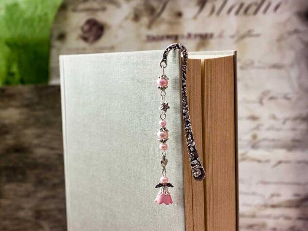 Rózsaszín angyalkás könyvjelző