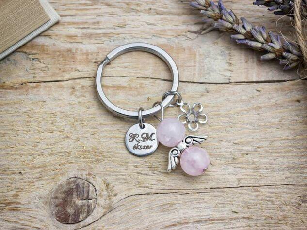 Szeretlek Mama kulcstartó rózsakvarccal