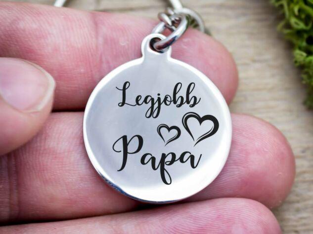 Legjobb Papa acél medálos kulcstartó
