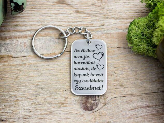 Csodálatos Szerelmet acél medálos kulcstartó