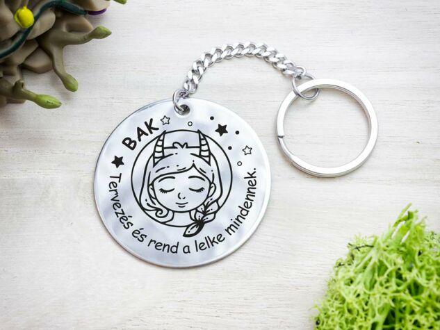 Bak lovely horoszkóp acél medálos kulcstartó